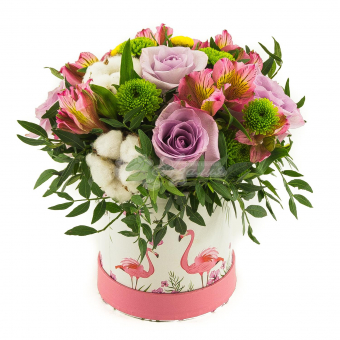 """Коробка  цветов """" Фламинго """""""