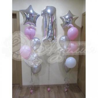 Композиция из шаров на 1 год. «Розовое серебро»